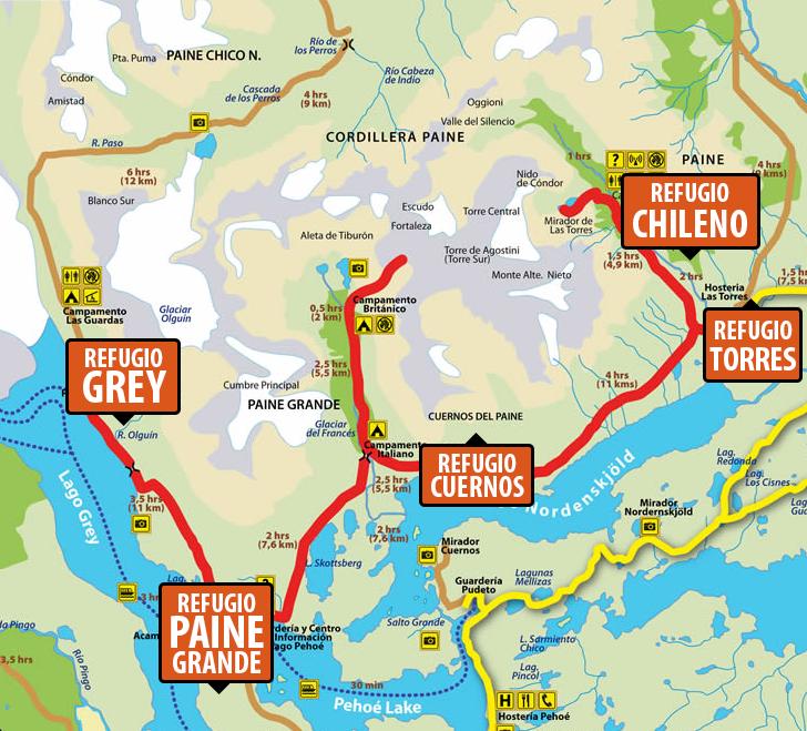 Circuito W Torres Del Paine Mapa : W en torres del paine ventajas de contratar un programa
